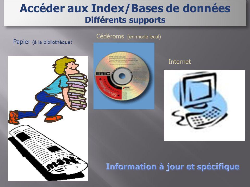 Internet Cédéroms (en mode local) Papier (à la bibliothèque) Accéder aux Index/Bases de données Différents supports Accéder aux Index/Bases de données Différents supports