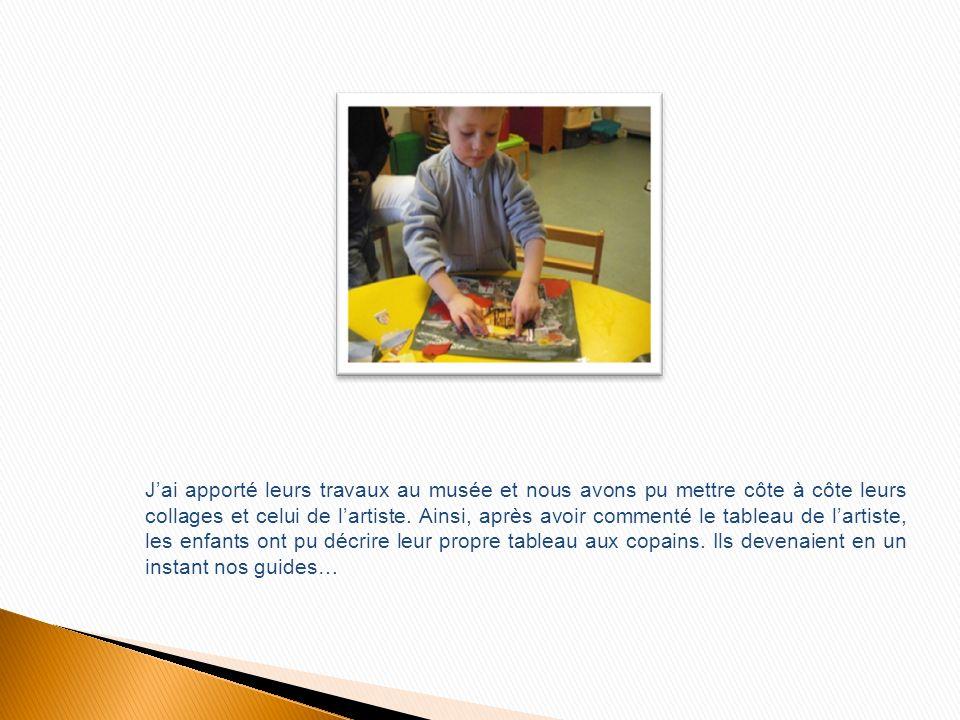 2: Avant daller au musée, en animation, un des deux groupes a pu réaliser des collages de papiers déchirés, cf. photos (ci-dessous). Pour cette activi