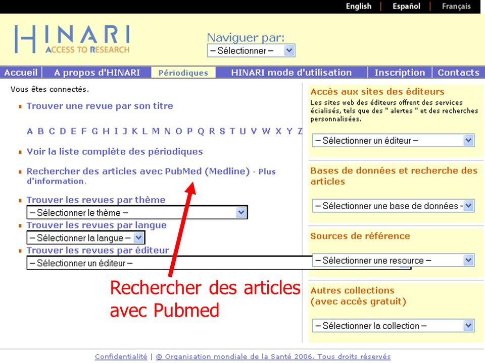 Rechercher des articles avec Pubmed