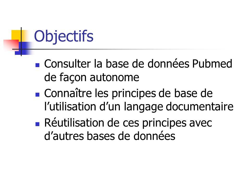Objectifs Consulter la base de données Pubmed de façon autonome Connaître les principes de base de lutilisation dun langage documentaire Réutilisation de ces principes avec dautres bases de données
