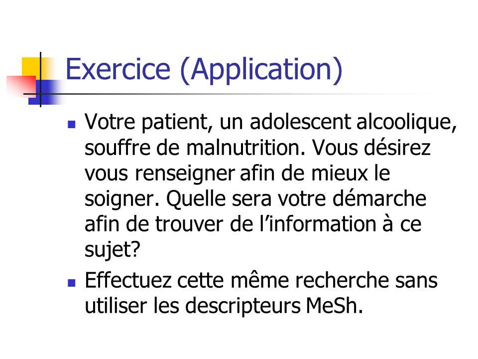 Exercice (Application) Votre patient, un adolescent alcoolique, souffre de malnutrition.