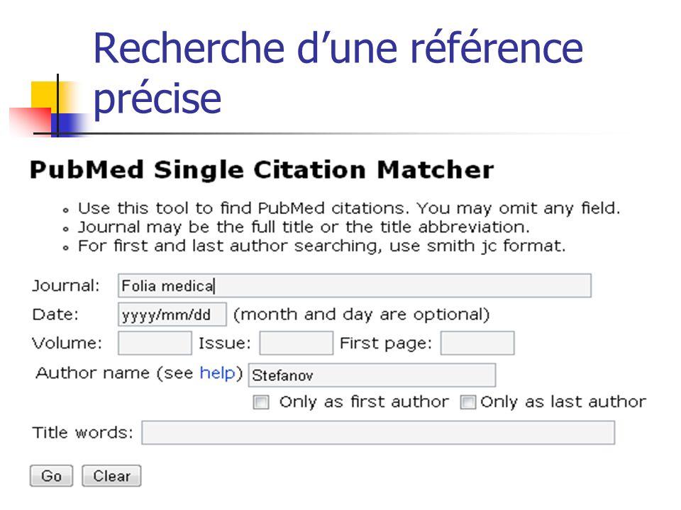 Recherche dune référence précise