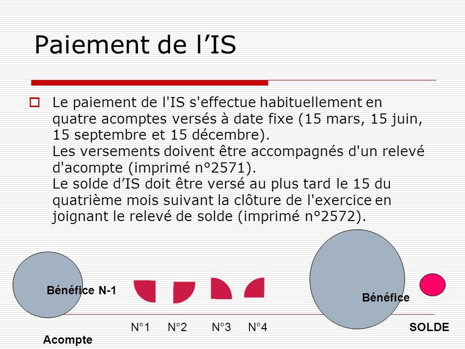 Paiement de lIS Le paiement de l IS s effectue habituellement en quatre acomptes versés à date fixe (15 mars, 15 juin, 15 septembre et 15 décembre).