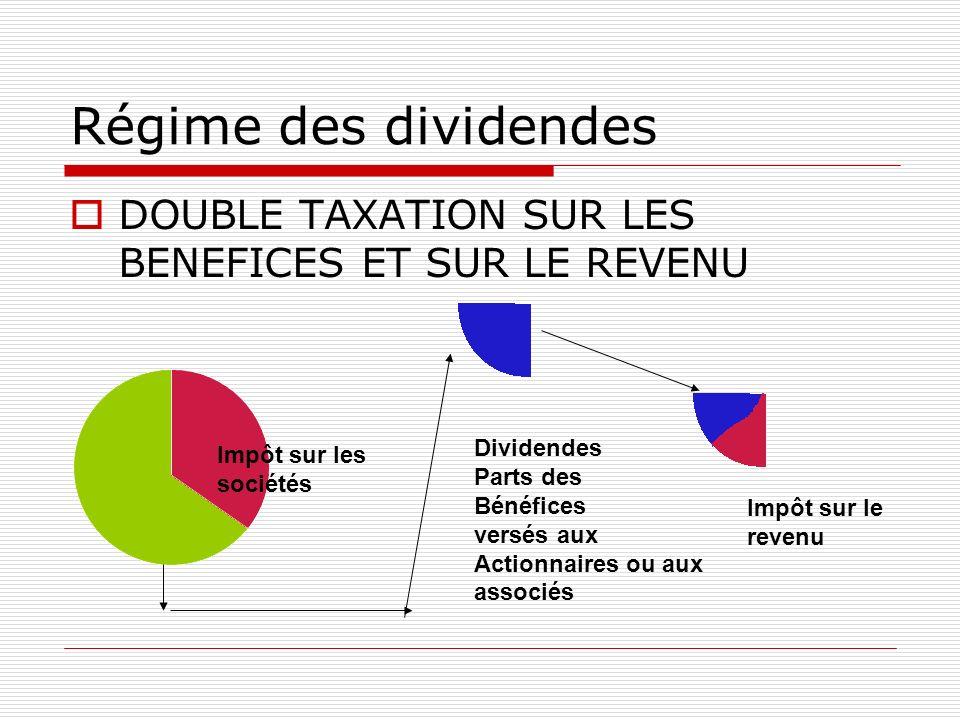 Régime des dividendes DOUBLE TAXATION SUR LES BENEFICES ET SUR LE REVENU Impôt sur les sociétés Dividendes Parts des Bénéfices versés aux Actionnaires ou aux associés Impôt sur le revenu
