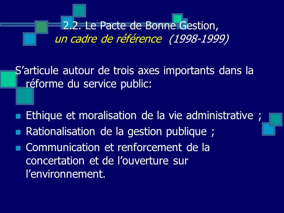 2.2. Le Pacte de Bonne Gestion, un cadre de référence (1998-1999) Sarticule autour de trois axes importants dans la réforme du service public: Ethique