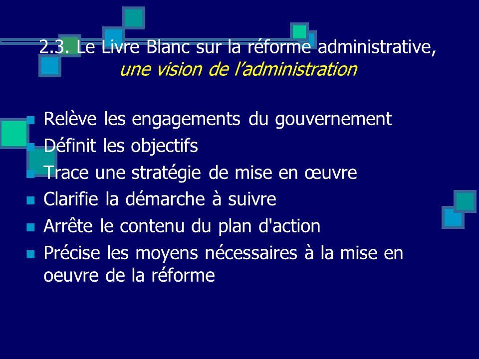 2.3. Le Livre Blanc sur la réforme administrative, une vision de ladministration Relève les engagements du gouvernement Définit les objectifs Trace un