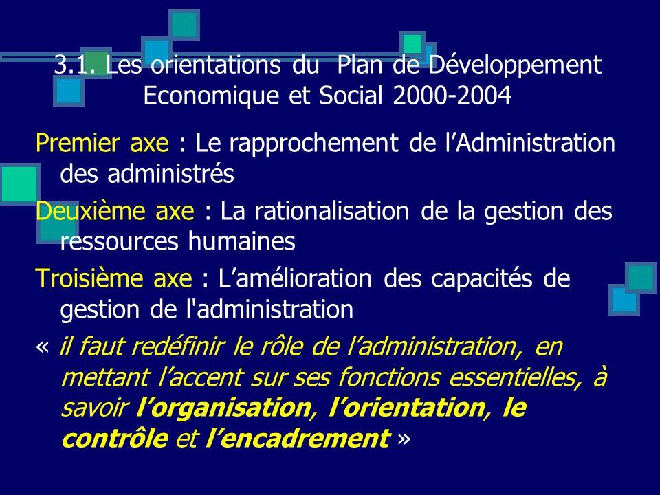3.1. Les orientations du Plan de Développement Economique et Social 2000-2004 Premier axe : Le rapprochement de lAdministration des administrés Deuxiè