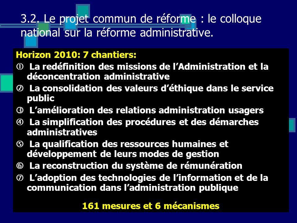 3.2. Le projet commun de réforme : le colloque national sur la réforme administrative. Horizon 2010: 7 chantiers: La redéfinition des missions de lAdm