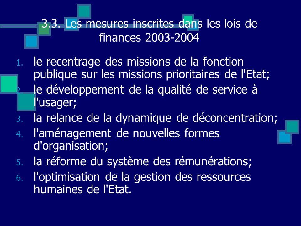 3.3. Les mesures inscrites dans les lois de finances 2003-2004 1. le recentrage des missions de la fonction publique sur les missions prioritaires de
