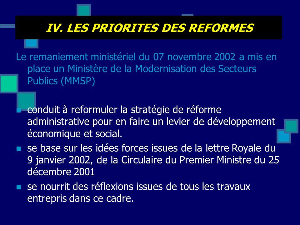 IV. LES PRIORITES DES REFORMES Le remaniement ministériel du 07 novembre 2002 a mis en place un Ministère de la Modernisation des Secteurs Publics (MM