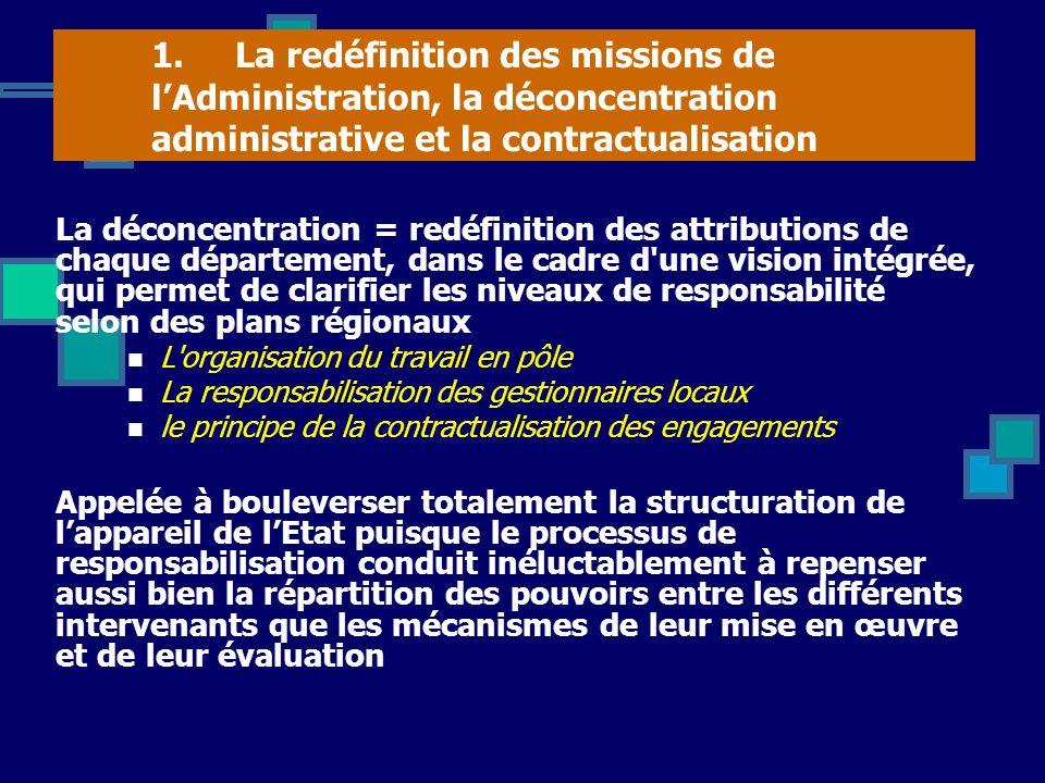 1. La redéfinition des missions de lAdministration, la déconcentration administrative et la contractualisation La déconcentration = redéfinition des a