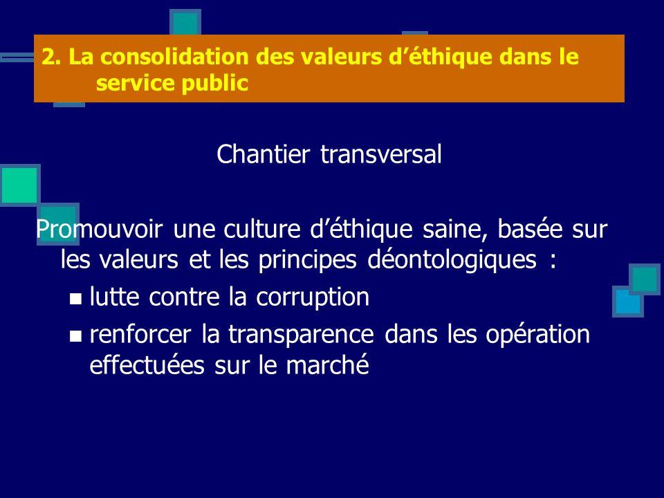 2. La consolidation des valeurs déthique dans le service public Chantier transversal Promouvoir une culture déthique saine, basée sur les valeurs et l