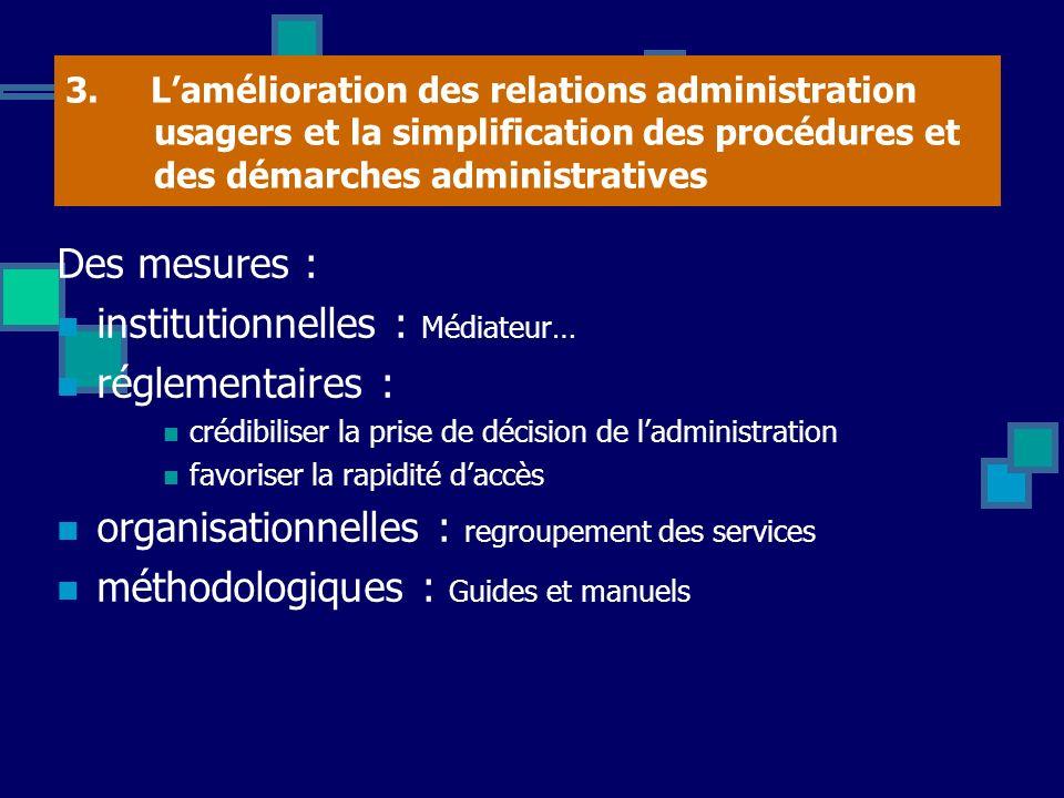 3. Lamélioration des relations administration usagers et la simplification des procédures et des démarches administratives Des mesures : institutionne