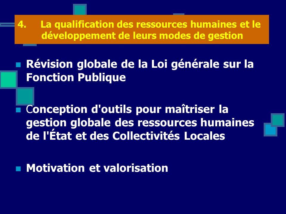 4. La qualification des ressources humaines et le développement de leurs modes de gestion Révision globale de la Loi générale sur la Fonction Publique