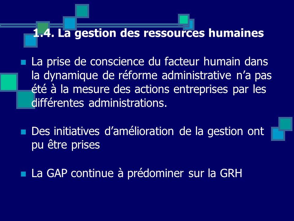 1.4. La gestion des ressources humaines La prise de conscience du facteur humain dans la dynamique de réforme administrative na pas été à la mesure de