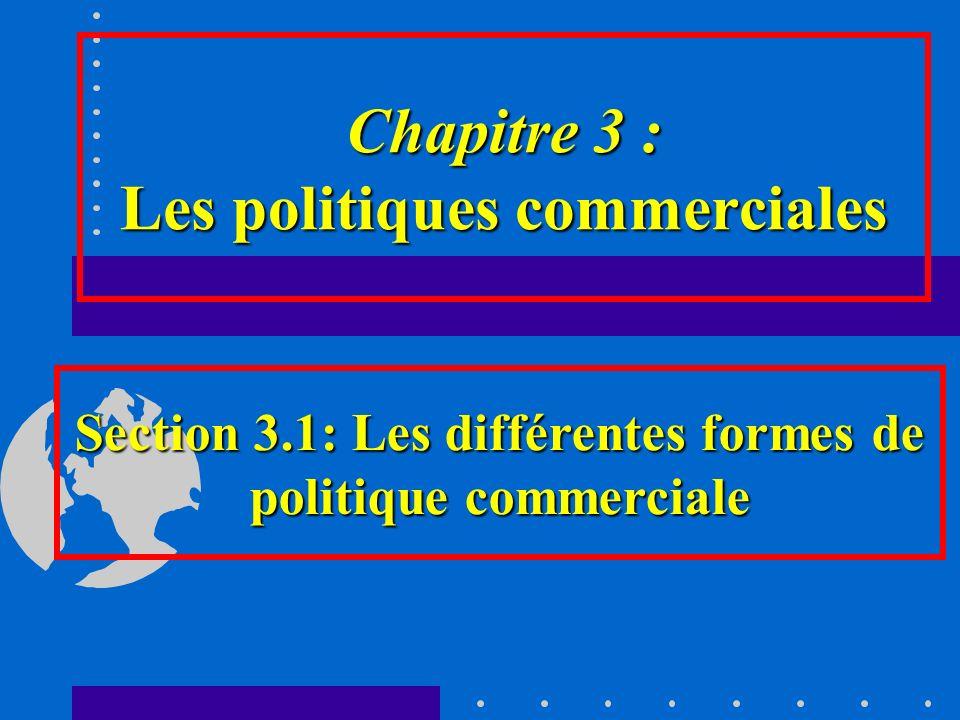 Chapitre 3 : Les politiques commerciales Section 3.1: Les différentes formes de politique commerciale