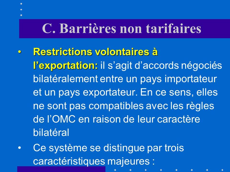 C. Barrières non tarifaires Valeurs mercuriales:Valeurs mercuriales: il sagit dun prix de référence utilisé pour le calcul du droit de douane. Ces val