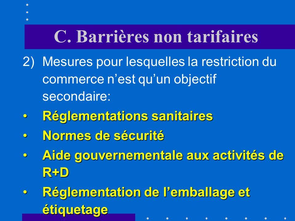 C. Barrières non tarifaires Ce principe est appliqué également pour octroyer le statut dorigine dans une zone de libre-échange (50% ou 2/3 de la valeu