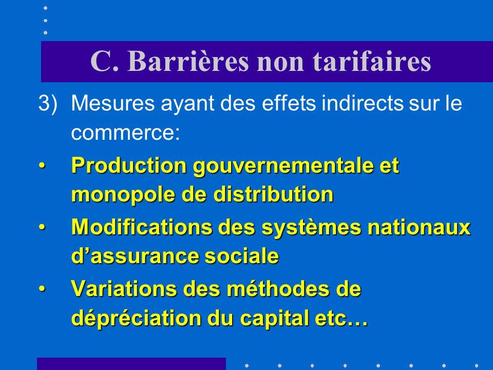 C. Barrières non tarifaires 2)Mesures pour lesquelles la restriction du commerce nest quun objectif secondaire: Réglementations sanitairesRéglementati