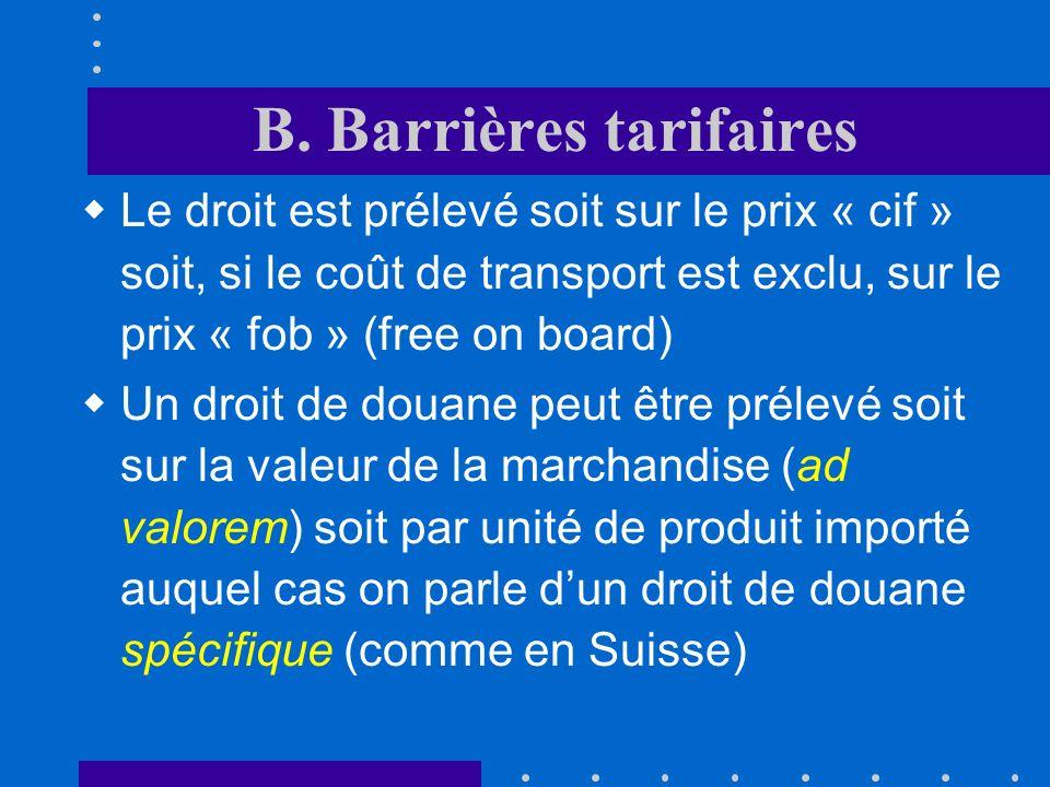 A. Introduction On peut distinguer différents types de barrières à léchange barrières tarifaires et non tarifaires Une première distinction doit être