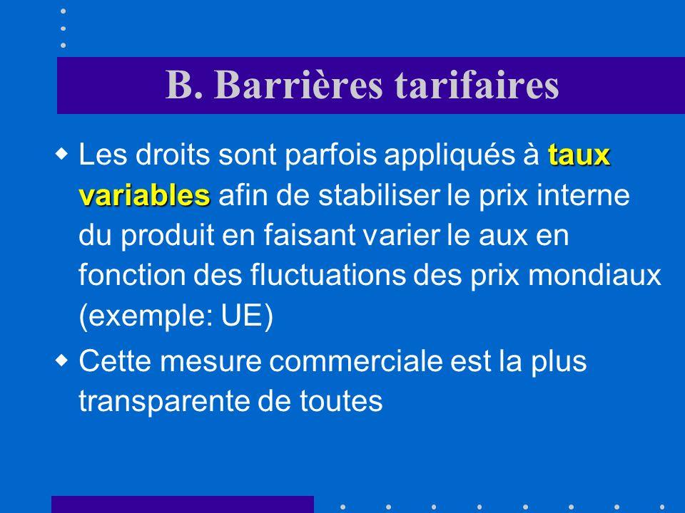 B. Barrières tarifaires Le droit est prélevé soit sur le prix « cif » soit, si le coût de transport est exclu, sur le prix « fob » (free on board) Un