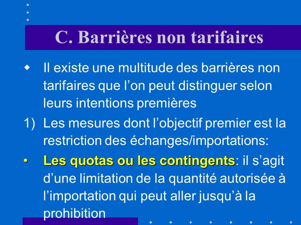 B. Barrières tarifaires taux variables Les droits sont parfois appliqués à taux variables afin de stabiliser le prix interne du produit en faisant var
