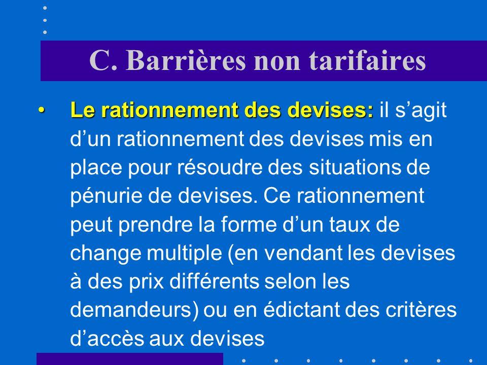 C. Barrières non tarifaires Les dépôts préalables:Les dépôts préalables: les importateurs doivent payer au préalable une fraction de leurs importation