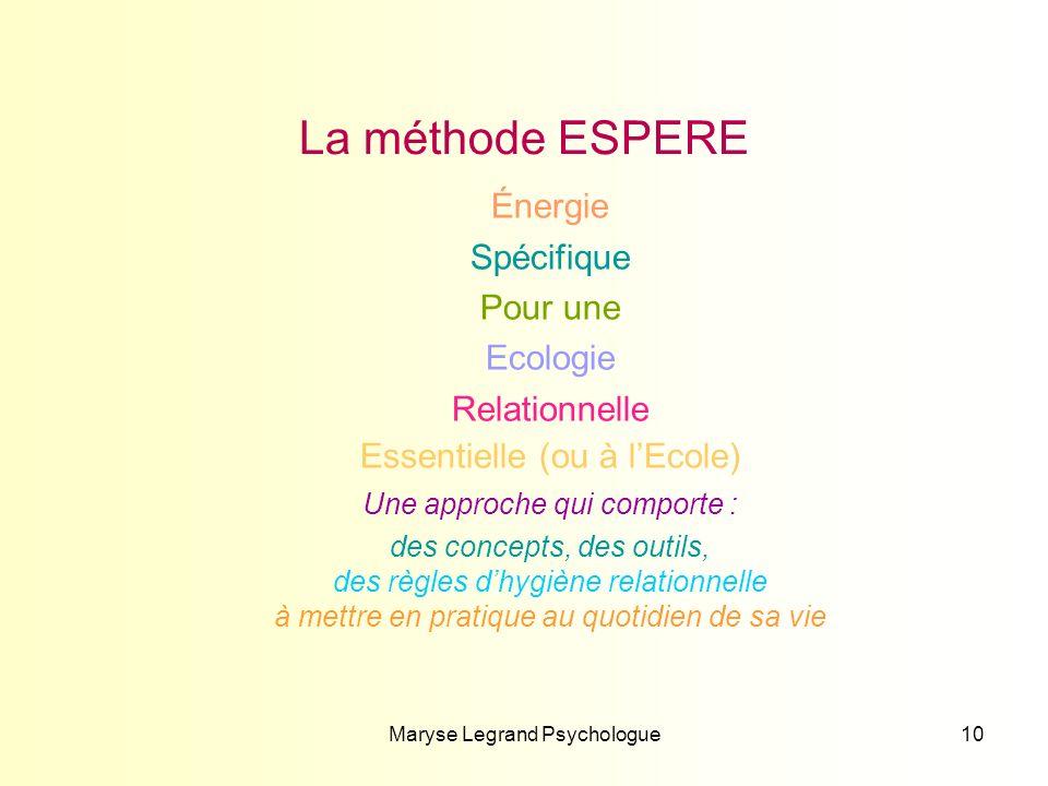 Maryse Legrand Psychologue10 La méthode ESPERE Énergie Spécifique Pour une Ecologie Relationnelle Essentielle (ou à lEcole) Une approche qui comporte