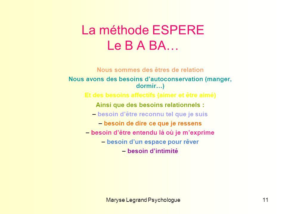 Maryse Legrand Psychologue11 La méthode ESPERE Le B A BA… Nous sommes des êtres de relation Nous avons des besoins dautoconservation (manger, dormir…)