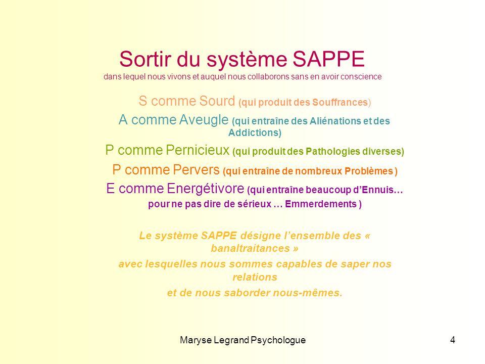 Maryse Legrand Psychologue4 Sortir du système SAPPE dans lequel nous vivons et auquel nous collaborons sans en avoir conscience S comme Sourd (qui pro