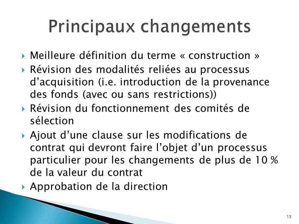 Meilleure définition du terme « construction » Révision des modalités reliées au processus dacquisition (i.e.