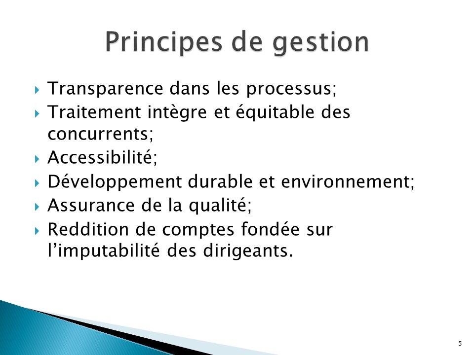 Transparence dans les processus; Traitement intègre et équitable des concurrents; Accessibilité; Développement durable et environnement; Assurance de la qualité; Reddition de comptes fondée sur limputabilité des dirigeants.