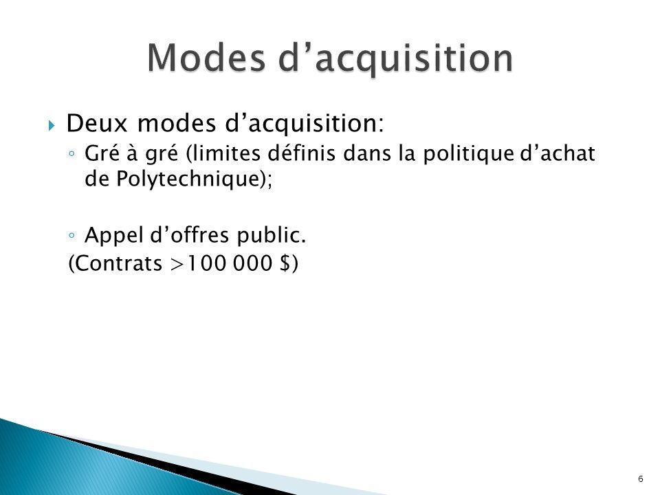 Deux modes dacquisition: Gré à gré (limites définis dans la politique dachat de Polytechnique); Appel doffres public.