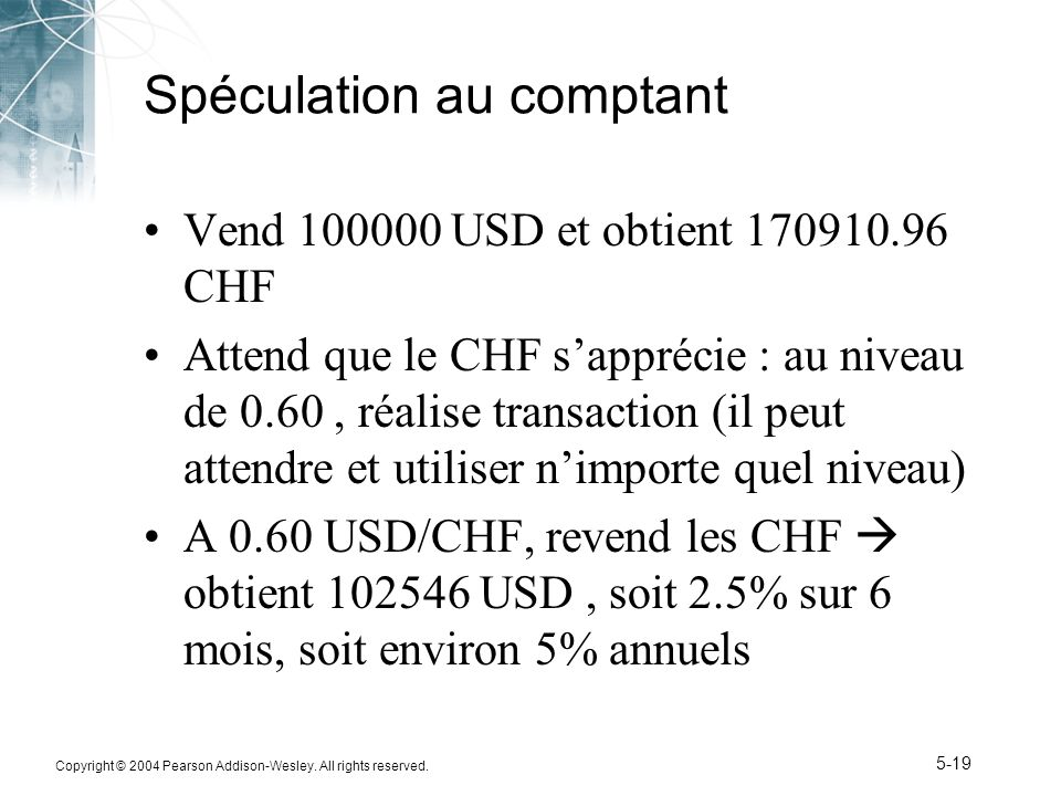 Copyright © 2004 Pearson Addison-Wesley. All rights reserved. 5-19 Spéculation au comptant Vend 100000 USD et obtient 170910.96 CHF Attend que le CHF