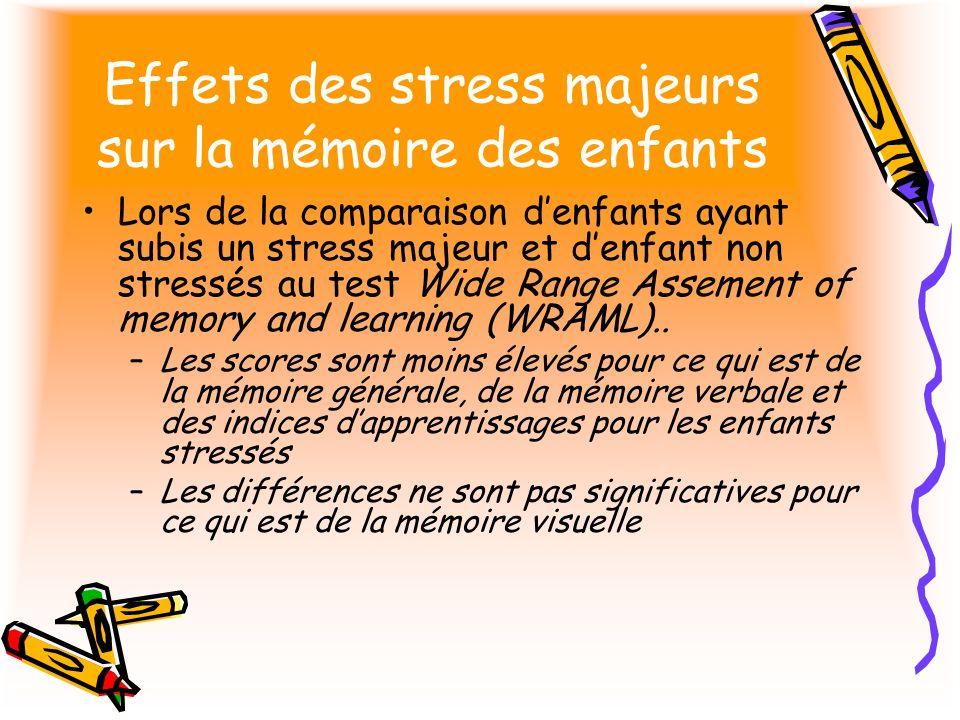 Effets des stress majeurs sur la mémoire des enfants Lors de la comparaison denfants ayant subis un stress majeur et denfant non stressés au test Wide Range Assement of memory and learning (WRAML)..