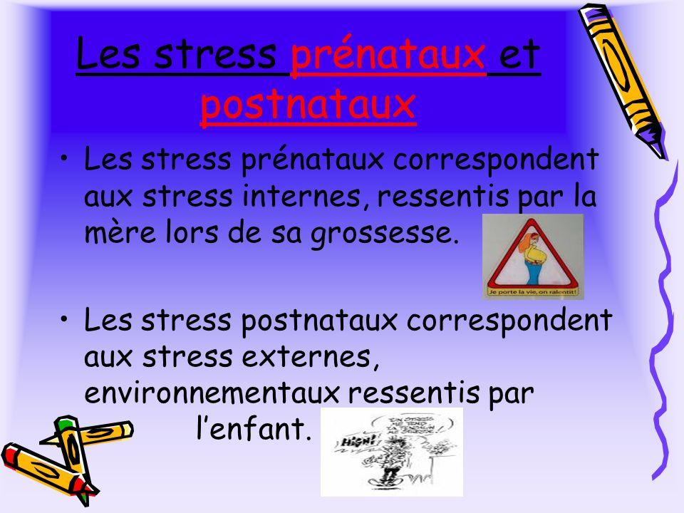 Les stress prénataux et postnataux Les stress prénataux correspondent aux stress internes, ressentis par la mère lors de sa grossesse.