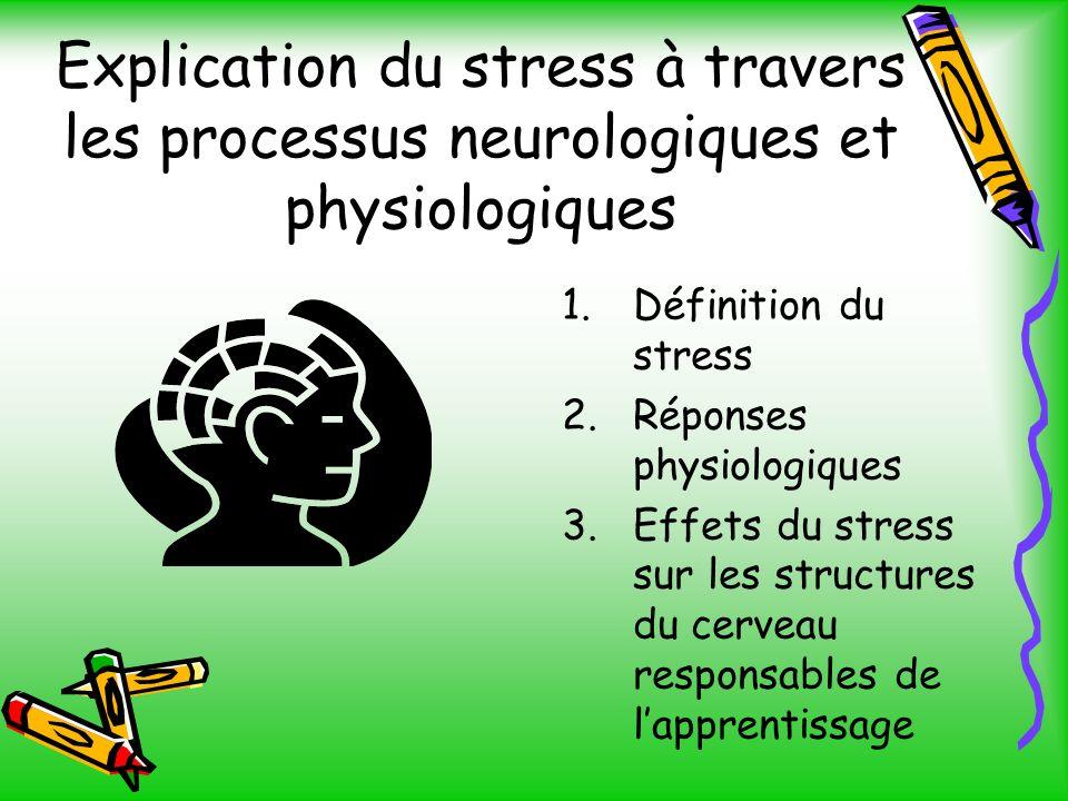 Explication du stress à travers les processus neurologiques et physiologiques 1.Définition du stress 2.Réponses physiologiques 3.Effets du stress sur les structures du cerveau responsables de lapprentissage
