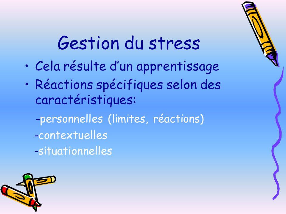 Gestion du stress Cela résulte dun apprentissage Réactions spécifiques selon des caractéristiques: -personnelles (limites, réactions) -contextuelles -situationnelles