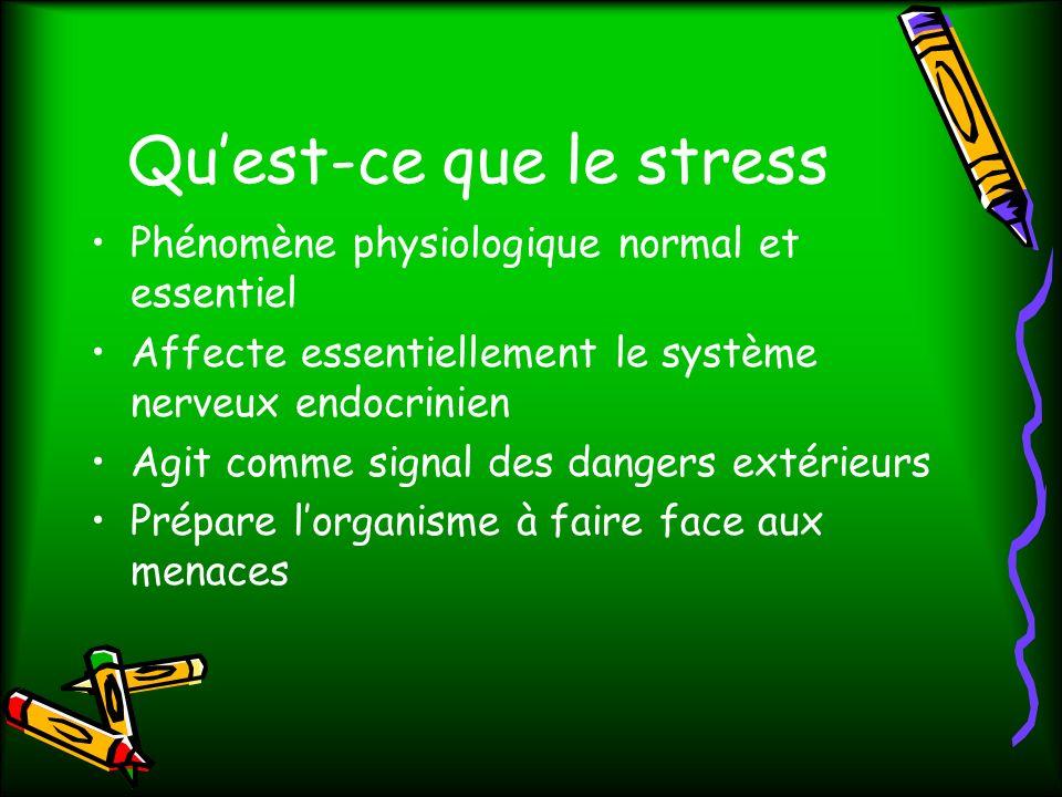 Quest-ce que le stress Phénomène physiologique normal et essentiel Affecte essentiellement le système nerveux endocrinien Agit comme signal des dangers extérieurs Prépare lorganisme à faire face aux menaces