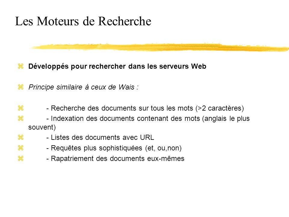 Les Moteurs de Recherche zDéveloppés pour rechercher dans les serveurs Web zPrincipe similaire à ceux de Wais : z- Recherche des documents sur tous les mots (>2 caractères) z- Indexation des documents contenant des mots (anglais le plus souvent) z- Listes des documents avec URL z- Requêtes plus sophistiquées (et, ou,non) z- Rapatriement des documents eux-mêmes