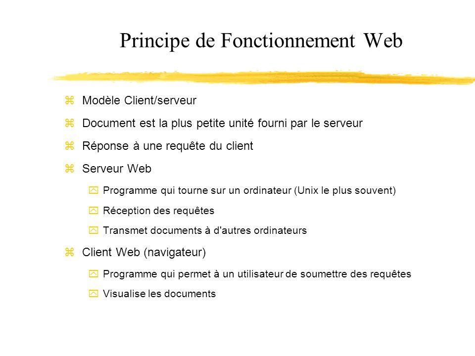 Principe de Fonctionnement Web Modèle Client/serveur Document est la plus petite unité fourni par le serveur Réponse à une requête du client Serveur Web Programme qui tourne sur un ordinateur (Unix le plus souvent) Réception des requêtes Transmet documents à d autres ordinateurs Client Web (navigateur) Programme qui permet à un utilisateur de soumettre des requêtes Visualise les documents