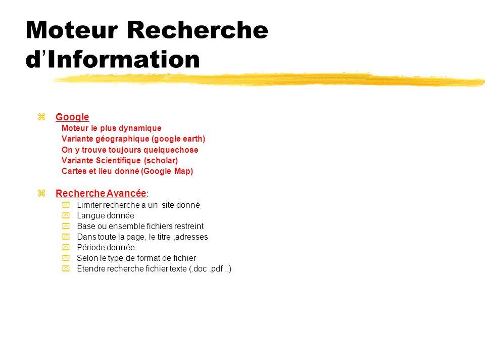 Moteur Recherche dInformation zGoogle Moteur le plus dynamique Variante géographique (google earth) On y trouve toujours quelquechose Variante Scientifique (scholar) Cartes et lieu donné (Google Map) zRecherche Avancée: yLimiter recherche a un site donné yLangue donnée yBase ou ensemble fichiers restreint yDans toute la page, le titre,adresses yPériode donnée ySelon le type de format de fichier yEtendre recherche fichier texte (.doc.pdf..)