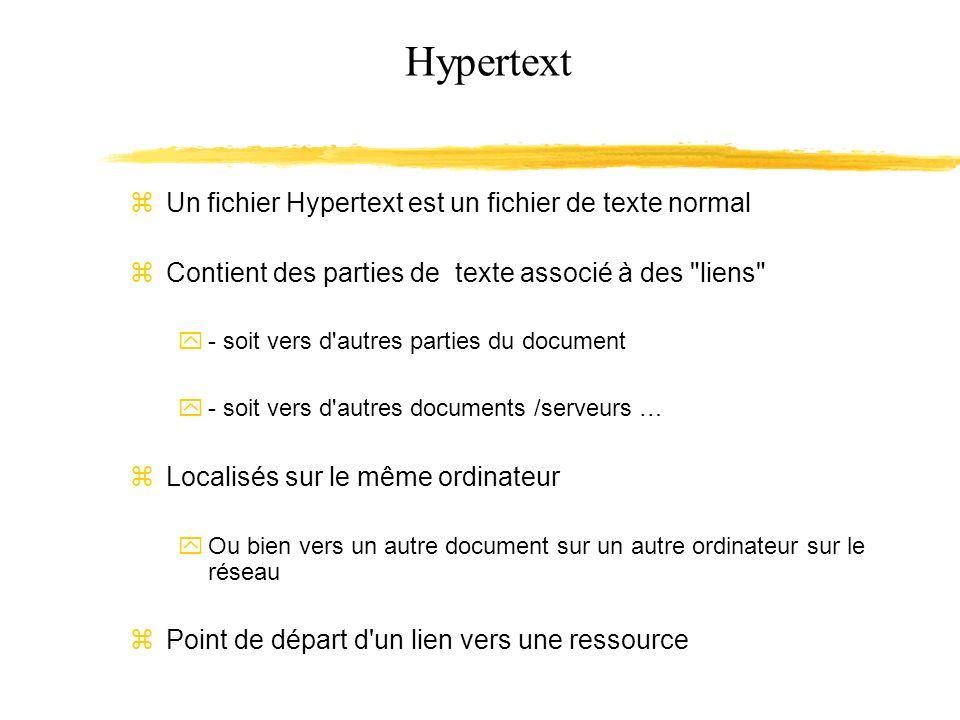 Hypertext Un fichier Hypertext est un fichier de texte normal Contient des parties de texte associé à des liens - soit vers d autres parties du document - soit vers d autres documents /serveurs … Localisés sur le même ordinateur Ou bien vers un autre document sur un autre ordinateur sur le réseau Point de départ d un lien vers une ressource