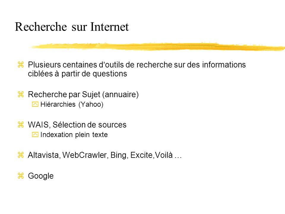 Recherche sur Internet zPlusieurs centaines doutils de recherche sur des informations ciblées à partir de questions zRecherche par Sujet (annuaire) yHiérarchies (Yahoo) zWAIS, Sélection de sources yIndexation plein texte zAltavista, WebCrawler, Bing, Excite,Voilà … zGoogle
