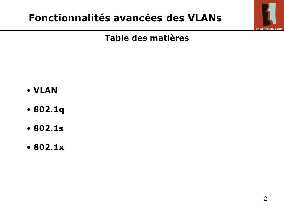 1 Fonctionnalités avancées des VLANs APPERT Fabien BOUVET Adrien CHAVERON Nicolas - Ingénieurs2000 IR - 3 ème année - Février 2005 Exposé de « Nouvell