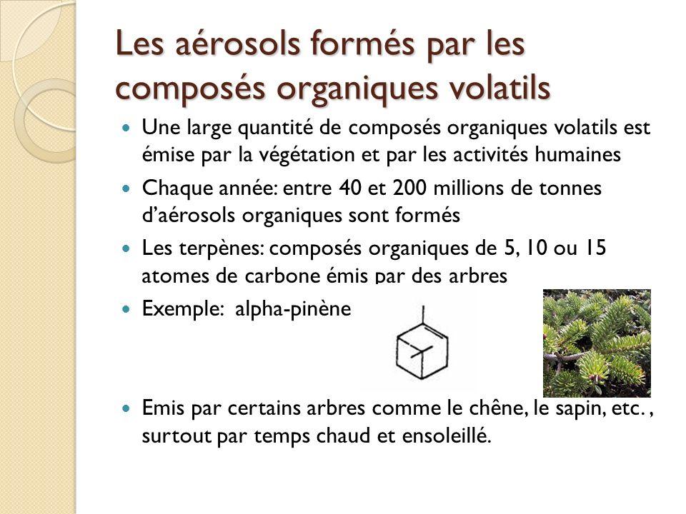 Les aérosols formés par les composés organiques volatils Une large quantité de composés organiques volatils est émise par la végétation et par les act