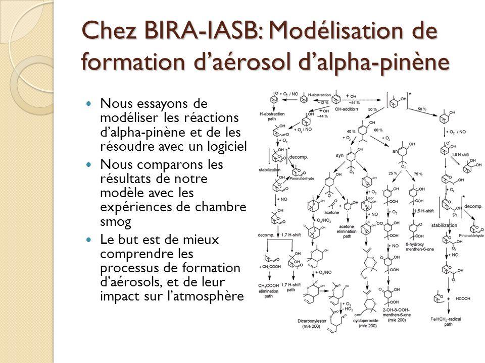 Chez BIRA-IASB: Modélisation de formation daérosol dalpha-pinène Nous essayons de modéliser les réactions dalpha-pinène et de les résoudre avec un log