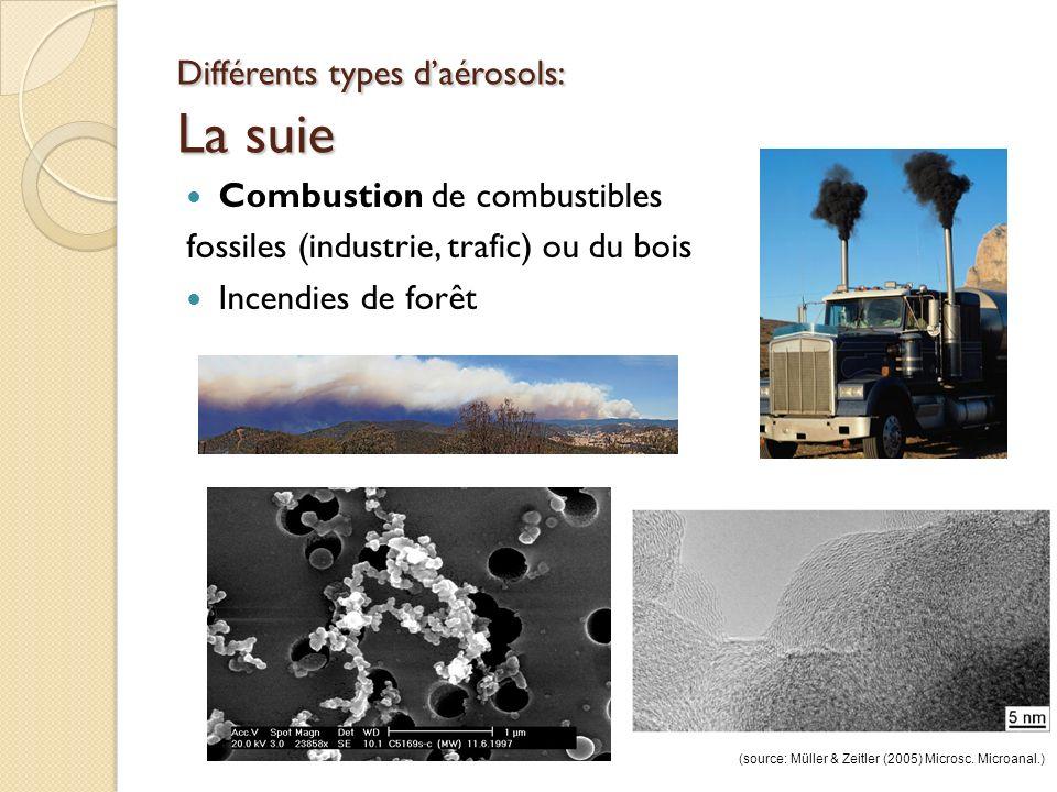 Différents types daérosols: La suie Combustion de combustibles fossiles (industrie, trafic) ou du bois Incendies de forêt (source: Müller & Zeitler (2