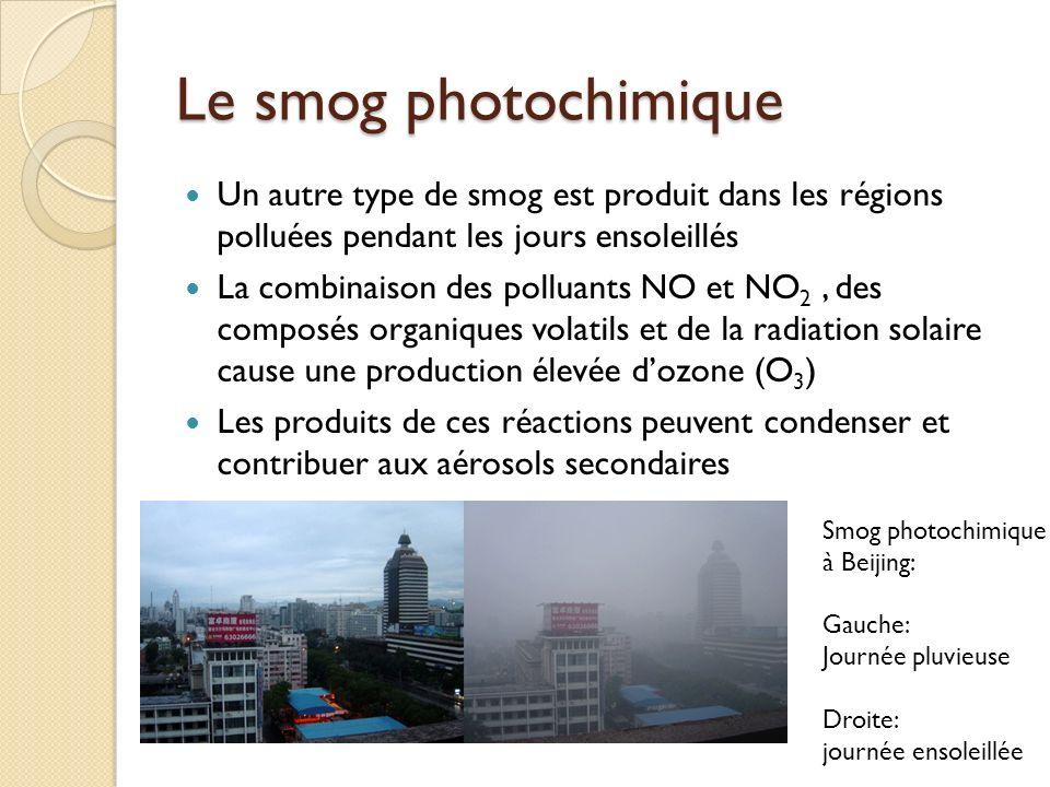 Le smog photochimique Un autre type de smog est produit dans les régions polluées pendant les jours ensoleillés La combinaison des polluants NO et NO