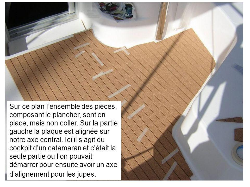 Sur ce plan lensemble des pièces, composant le plancher, sont en place, mais non coller. Sur la partie gauche la plaque est alignée sur notre axe cent